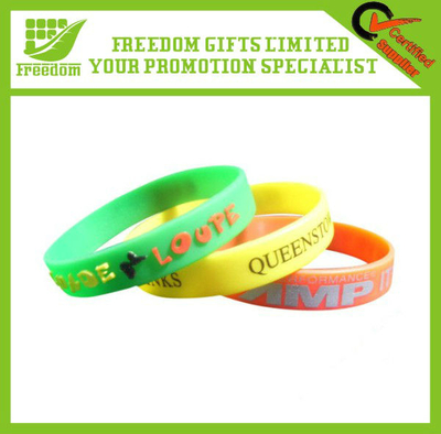 Customized Silicone Bracelets Embossed Wristbands