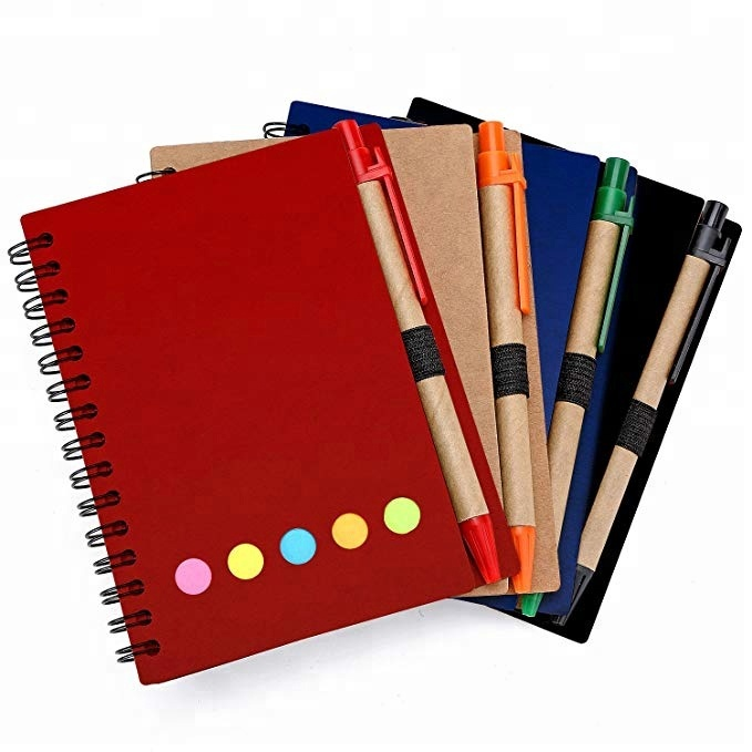 Spiral Notebook with Pen Sticky Notes Page Marker Colored Tabs Flags
