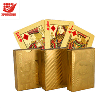 Durable Waterproof Luxury 24K Gold Foil Playing Cards with Wooden Box