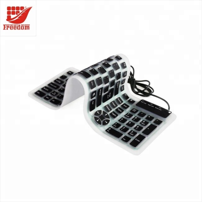 Foldable Customized USB Silicone Keyboard with 104 Keys