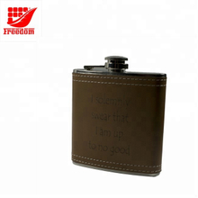 Stainless Steel With Leather Wrapped Logo Embossed Hip Flask