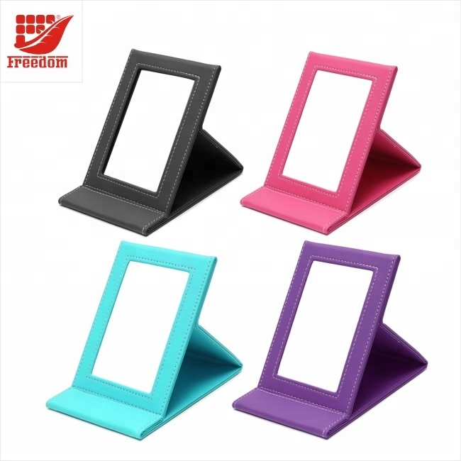 Fashion Logo Printed Leather Coated Foldable Makeup Mirror